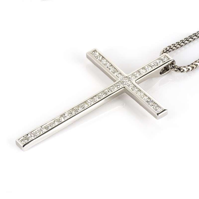 18k White Gold Princess Cut Diamond Set Cross 2.05ct